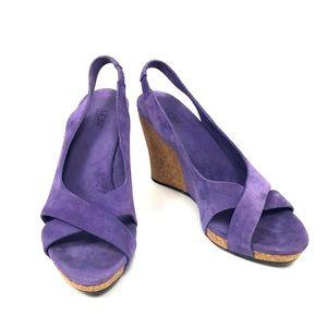 "UGG Shoes - Purple UGG ""Hazel"" Slingback Open Toe Wedges 7"